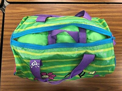 Justice sleeping bag, blue, green, pink, and purple