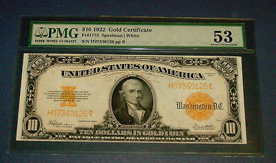 PMG 1922 GOLD CERTIFICATE $10 Ten Dollar AU 53 Large Note FR 1173