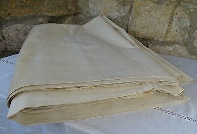 "Antique French home-spun 'artisan' grain sack linen hemp fabric 244"" x 86.6"""