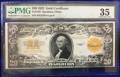 1922 $20 Gold Certificate PMG Graded 35 Choice Very Fine (Fr#1187)