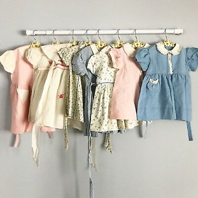 Large Lot 8 Vintage Dresses 1940's 50's Size 2t 3t 4t Puff Sleeves Gorgeous
