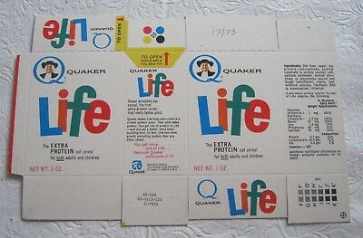 Vintage old Quaker Life Cereal Box 1973 early variety rare !