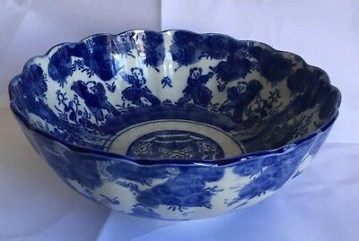 Meiji Japanese Arita Blue & White 10in Punch Bowl /chipped rim