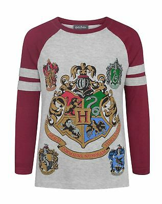 Harry Potter Hogwarts Crest Girls/Kids Raglan 3/4 Sleeve T-Shirt 5-14 Years