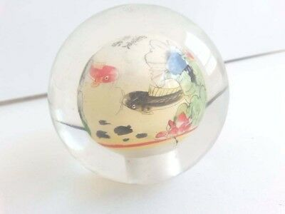 Vintage Glass ball Rare unique decorative with Japanese fish colorful image