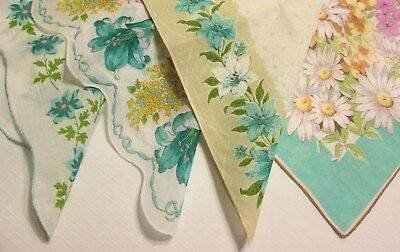 4 Vtg 1950s Era Lilies Hankies Bouquet Flowers Aqua Turquoise White