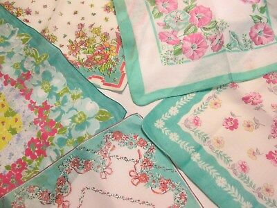 5 Vtg Lot 1950s Era Hankies Aqua Turquoise Floral Hand Roll Wedding Ladies Tea