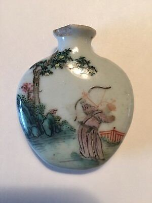 antique porcelain snuff container Japanese or Chinese 2 x 1 3/4 inches circle
