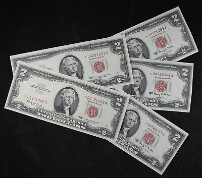 Five $2 1963 Star and 1963A Star consec CU red seal US Notes two dollar FREESHIP