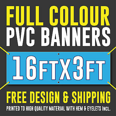 Full Colour Outdoor PVC Banner - 16ft x 3ft - Sign for Business Birthday Parties