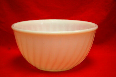 "Vintage FIRE-KING OVEN WARE WHITE MILK GLASS SWIRL 9"" NESTING MIXING BOWL #S8335"