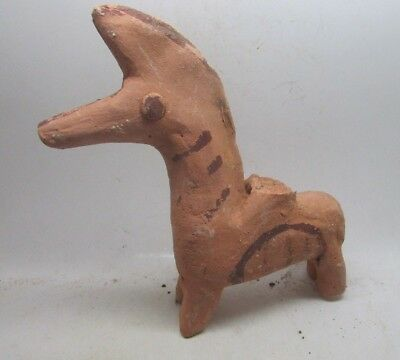 Circa 400Bc Ancient Parthian Decorated Terracotta Horse Figurine Rare