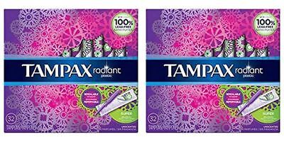 Tampax Radiant Plastic Tampons, Super Absorbency, Unscented, 64 Count
