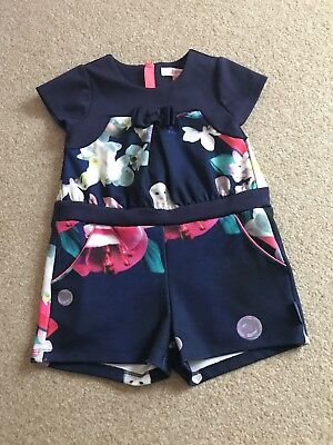 Ted Baker Girls Owl Floral Navy Playsuit Jumpsuit - Age 3-4 Years