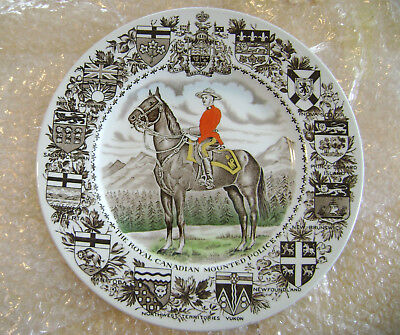 Royal Canadian Mounted Police commerative plate by Wood & Sons, Burslem, England