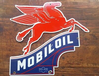 "BIG OL' MOBIL PEGASUS PORCELAIN SIGN 20"" x 22"" MOBILOIL GARAGE RED HORSE TEXLITE"