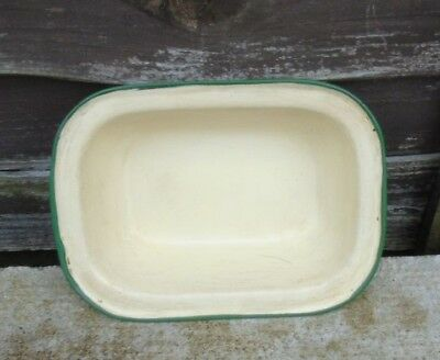 RUSTIC  ENAMEL OVEN ROASTING DISH 1960's IN CREAM WITH A GREEN RIM - VINTAGE