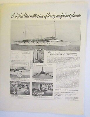 1930s 2-sided ad: Caroline 11 Yachts, built in Bath, Maine, Ductillite Tin Plate