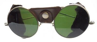 Vintage Antique Wire Rim Welding Safety Glasses Goggles Steam Punk Green Silver