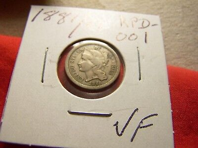 1881/88 3-Cent Nickel, Repunched Date (RPD-001), VF+, Full & Strong Column Lines