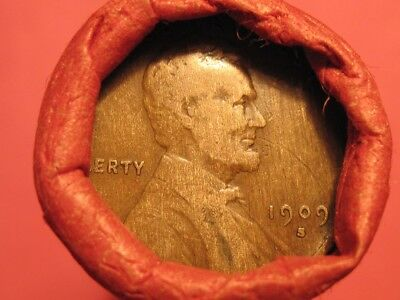 Mixed Small Cent Roll 1909-S Lincoln Wheat Cent & BU '37 Wheat Cent