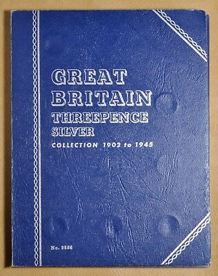 1902 to 1945 Great Britain Threepence Silver Whitman Coin Album - 38 Coins #