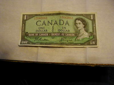 1954 Bank Of Canada One Un Dollar Note Circulated. Free Shipping (Us Only)