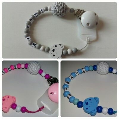 Personalised Baby Dummy Clip**Chain for Boys and Girls**Wooden clip**MAM ADAPTER
