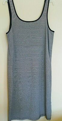 Sleeveless Summer Maternity Dress Navy Blue/White Striped Size 16 Mothercare