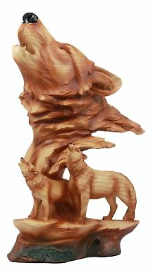 Three Howling Wolves Wild Life Statue Timber Wolf Figurine Faux Wood Finish