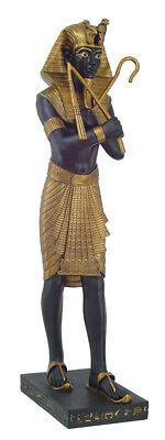 Ancient Egyptian 47 Inch Height Large King Tut Holding Crook And Flail Sculpture