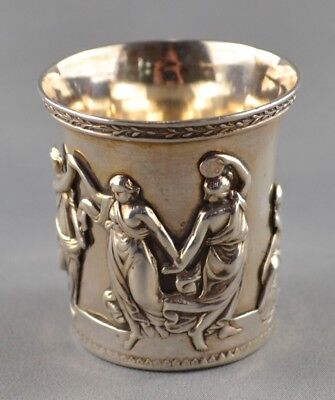 ANTIQUE RUSSIAN SILVER BEAKER ** ST. PETERSBURG, 1825 ** with APPLIED FIGURES NR