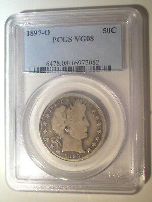 1897-O * PCGS VG08 * Silver BARBER Liberty Head Half Dollar 50c * $250+ Key Date