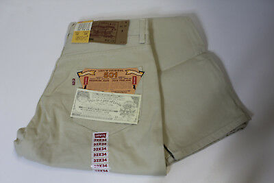 LEVI'S 501 BUTTON FLY JEANS BEIGE - W32 L34 - made in USA