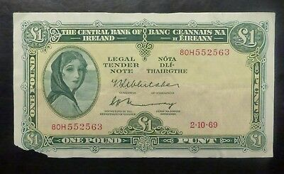 {BJSTAMPS} 1969  Ireland 1 Pound Banknote