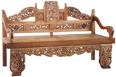 Exquisite Antique Javanese Hand Carved Ornate Wood Madura Bench,83''X 51''H