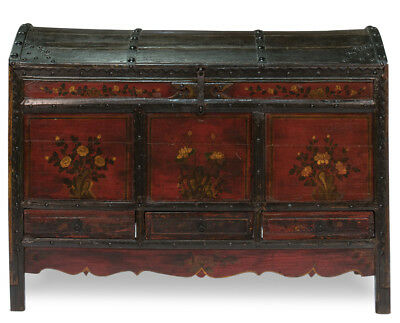 Antique Chinese  Hand Painted Folk Art Wedding Gift Trunk Primitive Chest,61''W