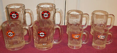 8 Vintage  A & W / Hires Root Beer Mugs Heavy Clear Glass Mugs Various