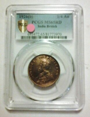1926(b) PCGS MS65 RD INDIA 1/4 ANNA. SECURE SHIELD HOLDER.