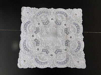 Antique Lace- Fine Hand Embroidered Handkerchief