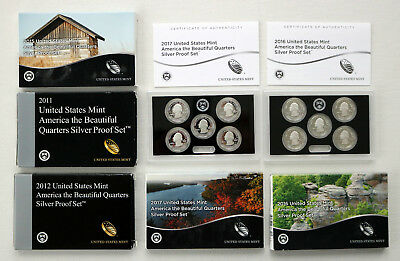 Lot Of (5) United States Mint Silver Proof Sets 2011, 2012, 2015, 2016, 2017