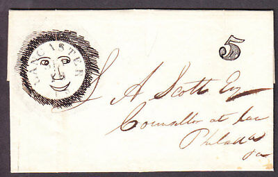 Lancaster PA stampless cover 5 rate with fancy folk art drawing on cancel 1850