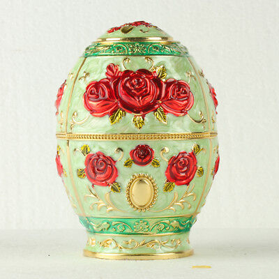 Chinese Cloisonne Handmade Carved Red Rose Flower Toothpick Box @JTL3052