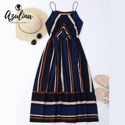 Womens dress Casual Striped Beach Sexy Sleeveless Spaghetti Strap Midi A Line Su