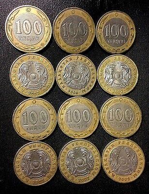 Old KAZAKHSTAN Coin Lot - 12 Super Uncommon 100 TENGE Coins - Lot #A16
