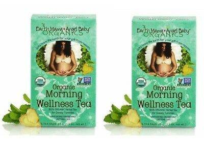 Earth Mama Angel Baby Organic Morning Wellness Tea, 16 bags LOT x2 Boxes 1.3 oz