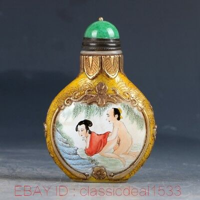 Chines cloisonne Hand painting Character Snuff Bottle W Qianlong Mark MY0192