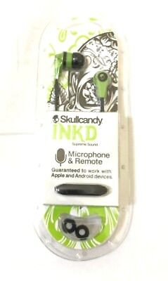 LIME SKULLCANDY INK'D 2.0 INKD 2 Earphone Earbuds with Mic Headset Brand New