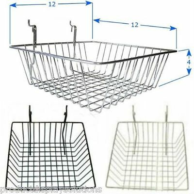 Case of 6 | Grod Gridwall Baskets 12 x 12 x 4 | BLACK WHITE or CHROME