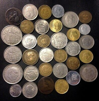 Old Spain Coin Lot - 1870-PreEuro - 33 Great Coins - Lot #A16